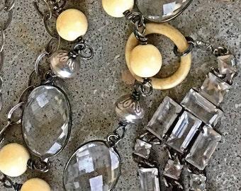 Antique open back crystal flapper assemblage long tassel necklace