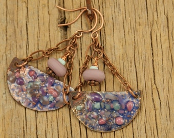 Dripping with Color--Rustic Organic Copper Enamel Charm Earrings   658