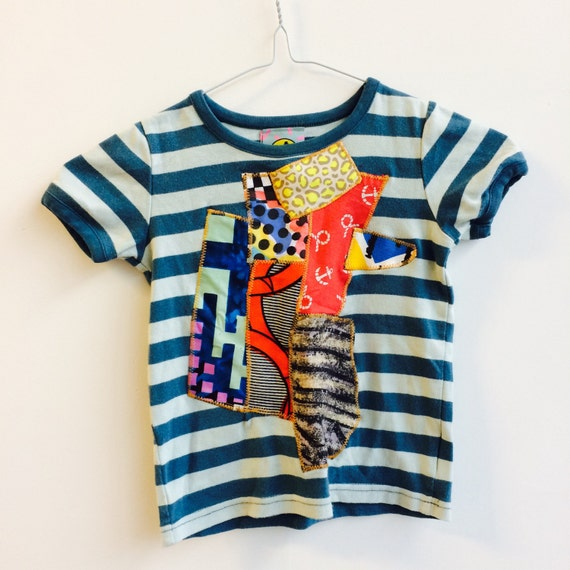 COVER 3-4 Years Kids Childrens T Shirt Top with Appliqué Patch in Upcycled Cotton Unisex