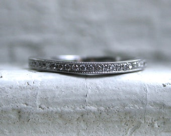 Great Curved Pave Vintage 14K White Gold Diamond Wedding Band.