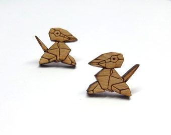 Porygon Pokemon Earrings   Laser Cut Jewelry   Hypoallergenic Studs   Wood Earrings
