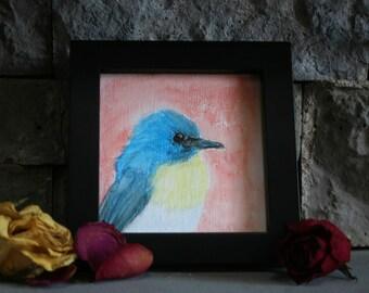 Bird Watercolor Pencil Original Painting