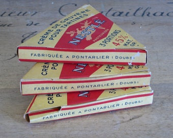 French cheese boxes, 3 vintage Nestle triangle card boxes