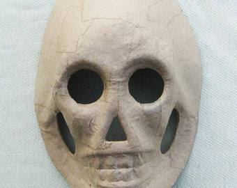 Paper Mache Skull Mask Halloween - 8.5 inches- 3D Unfinished Craft Halloween Shape - Home Decor