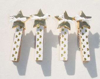 Mini Golden Star Decorative Clothes Pins - Set of 4