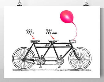 """Mom and Me on the vintage Tandem Bicycle - ORIGINAL personalized ARTWORK - 8 x 10"""""""