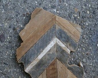jersey [chevron] cutout in reclaimed lathe [#7]