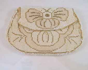 Silver, White and Grey Beaded Vintage Purse / Vintage 50s Czechoslovakia Handbag  / Butterfly Beaded Evening Clutch