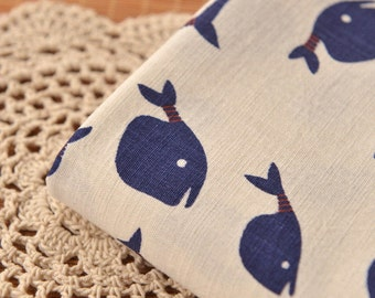 Bamboo texture Cotton Linen Fabric, The Blue whale Fabric,Printing and dyeing, Ivory little stretch Cotton Linen Fabric 1/2 Yard (QT1124)