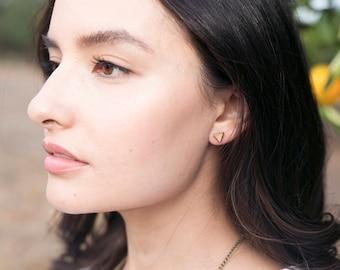 Triangle stud earrings - wooden eco friendly wooden geo studs. Geo jewellery