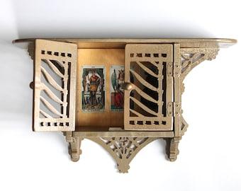 Boho gypsy vintage treasure shelf shrine / tarot decoupage mini cupboard / decorative painted wood wall shelf / painted bohemian wood shelf