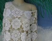 1/2 OFF Vintage 1970's Off White Crochet Long Sleeve Off Shoulder Mini Dress, Scalloped Hem, Beach Wear, See Through, sz S-M