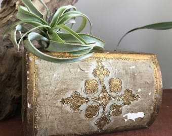 Vintage Italian Trinket Chest/ Gold Florentia Box/ Small Wooden Chest/ Gold Chest/ Jewelry Box