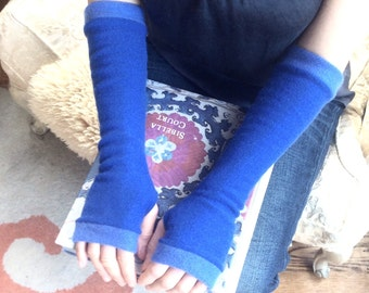 Cashmere Fingerless Gloves in forget me not blue, Cashmere Arm Warmers, Womans Fingerless Gloves