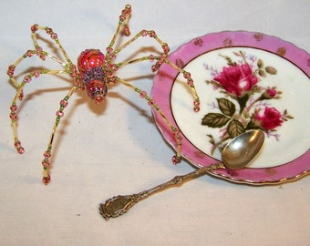 Christmas Spider Pink Glass Marbled Beaded German  Tree Ornament