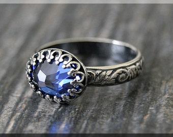 Alexandrite Ring, June Birthstone Ring, Crown Bezel Ring, Sterling Silver gemstone Ring, Alexandrite Stacking Ring, Flower Detail Shank Ring