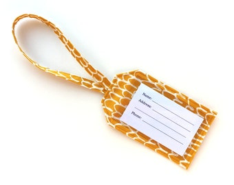 Fabric Luggage Tag- Mustard Yellow with White- Made w/ 100% Organic Fabric- Diaper, Gym Bag ID Tag- Travel Bag- Wedding/ Party Favor-