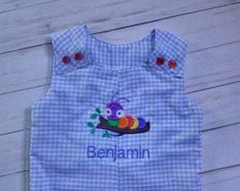 SAMPLE SALE!  blue gingham jon jon with embroidered caterpillar