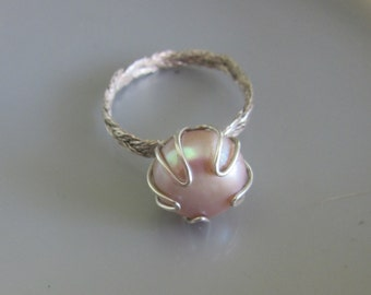 Sterling silver Large Pink Pearl ring - Textured Pearl Ring - Braid Band