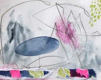 Contemporary abstract art, mixed media on paper, drawing, collage on paper