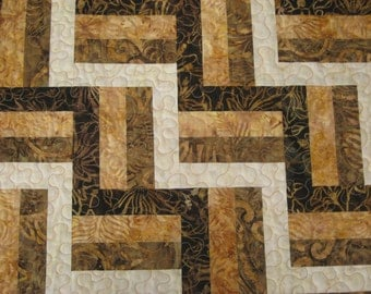 Quilted Table Runner, Batik 4-Rail Fence, Brown-Gold-Cream