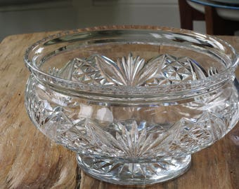 Large Scottish Crystal cut glass footed bowl