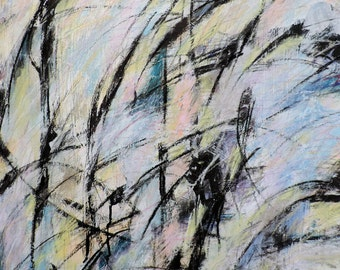 Untitled 2-2-17 (abstract expressionist painting, black, white, blue, green, cream, silver, yellow)