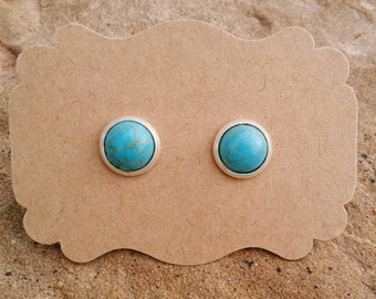 8mm Mini Turquoise Stud Earrings - Turquoise Posts - Southwest Native