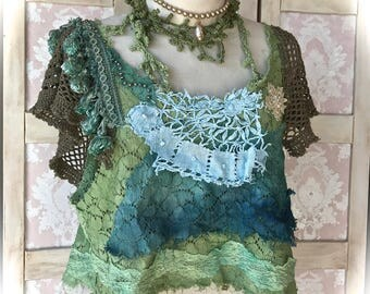 Mermaid Shipwreck Top Mixed Lace and Crochet Embellishments One Of A Kind Fiber  Collage
