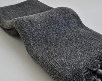 Turkish Towel cotton Peshtemal towel soft Stone washed thick beach and bath towel in dark grey