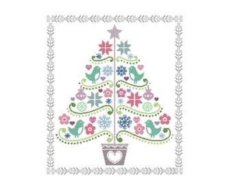 HURRY PRESIDENTS DAY Sale Folk Art Cross Stitch Pattern - Scandinavian Cross Stitch Pdf - Christmas Tree Cross Stitch Pattern - Holiday Cros