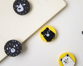 4 Pcs Cute Bears Round Eraser School Stationery Eraser