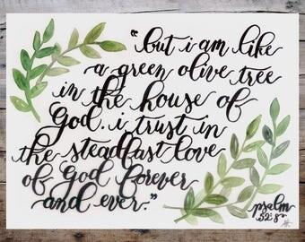 Olive Tree Print - Psalm 52:8