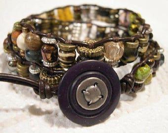Beaded Leather Wrap Bracelet, Industrial, Boho - 906