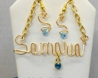 Handmade personalized Wire Name Necklace & Earrings with Birth Stones Handmade Original