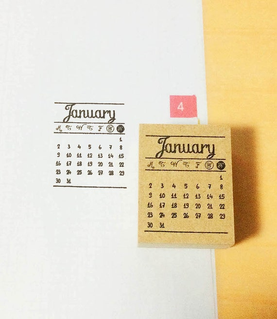 Calendar Stamp Bullet Journal : Calendar stamp monthly mini by