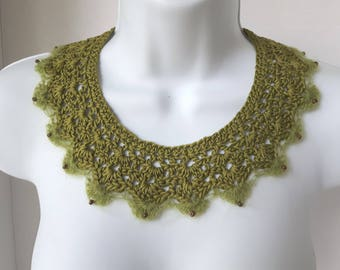Green Crochet Lace Collar Green Collar