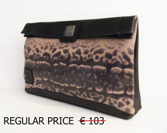 Sale. Leather Clutch.Black Snake Stamped Leather. Lunch Bag.Leather paper bag.Bags and Purses.Paper Bag.In stock