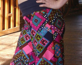 Pink retro pants Vintage paisley polyester high waist double knit with organic yoga waistband 1970s