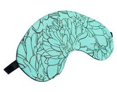 Teal Marigold Sleep Mask - Canvas, Hand-made, A Great Gift for Easter, Mother's Day, Gift for Her, Gift for Him Girlfriend, Birthday
