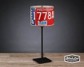 Michigan License Plate Table Lamp, Round, Man Cave, Garage, Repurposed, Upcycle, Automotive Lamp, Hand Crafted Light, Red White & Blue