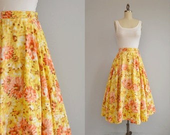 Vintage 1950s Skirt / 50s Brush Stroke Floral Print Full Circle Skirt