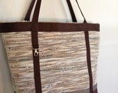 Hand Woven Plarn - Yarn of Recycled, Reclaimed, Reused Plastic Bags - Large Open Tote, Market Bag, Beach Bag in Browns, Tan, White
