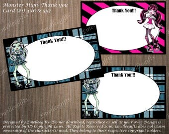 Monster High Thank You Note Cards #1 ~INSTANT DOWNLOAD~