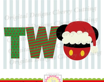 Christmas TWO with Santa hat,Santa hat Mickey TWO SVG,Christmas Silhouette & Cricut Cut Files CHSVG13 -Personal and Commercial Use