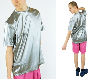 Vtg Flash Holographic Silver T-shirt Reflective Tape Detail