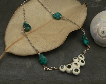 Ceramic and Turquoise Sterling Silver Ocean Necklace
