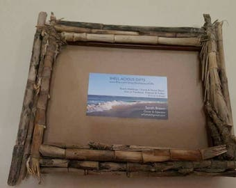 Beach Bamboo 5x7, 7x5-both ways- Wall Hang, Table Top Frame, With Hand Collected Beach Bamboo from Folly Beach, SC