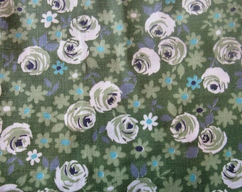 white roses on green floral print vintage cotton fabric -- 35 wide by almost 2 yards