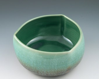 Serving Bowl Triangular Handmade Ceramic in Aqua and Rust